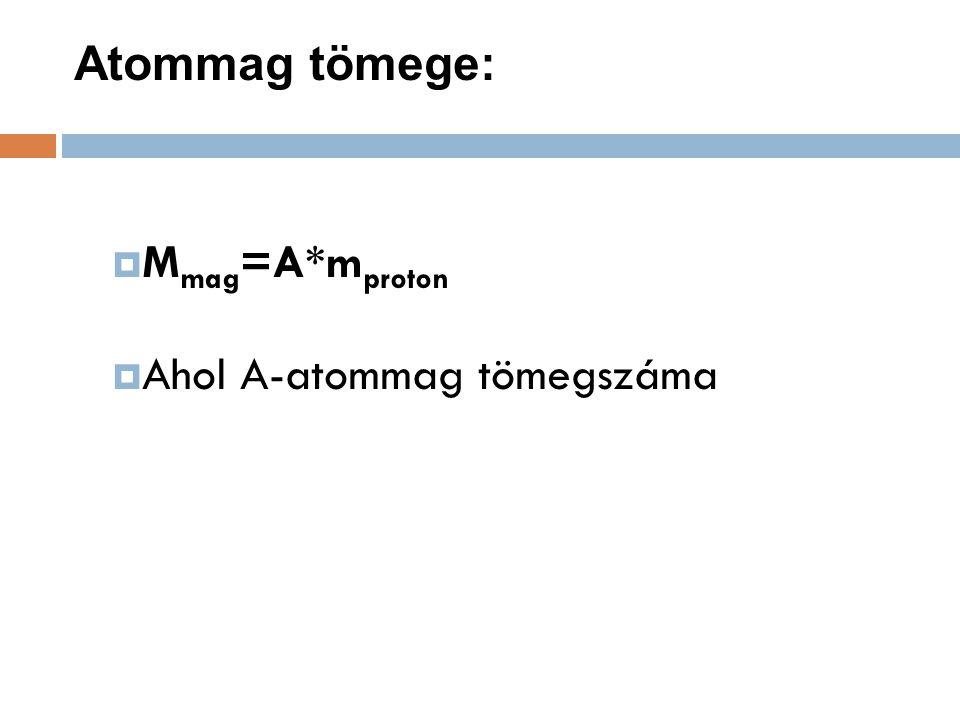 Atommag tömege:  M mag =A*m proton  Ahol A-atommag tömegszáma