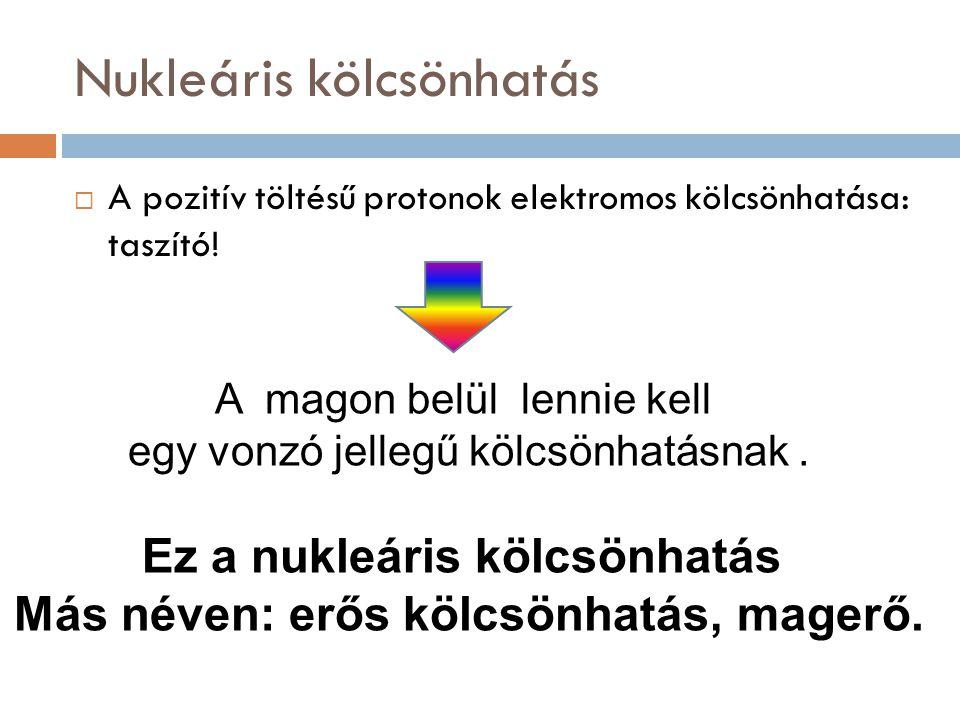 Nukleáris kölcsönhatás  A pozitív töltésű protonok elektromos kölcsönhatása: taszító! A magon belül lennie kell egy vonzó jellegű kölcsönhatásnak. Ez