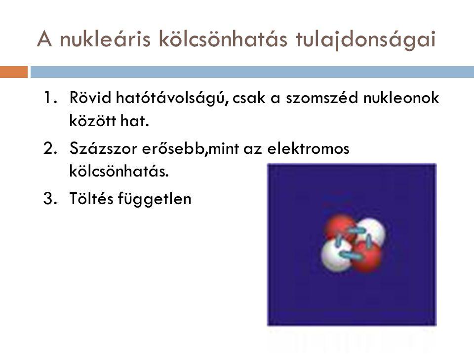 A nukleáris kölcsönhatás tulajdonságai 1.Rövid hatótávolságú, csak a szomszéd nukleonok között hat. 2.Százszor erősebb,mint az elektromos kölcsönhatás