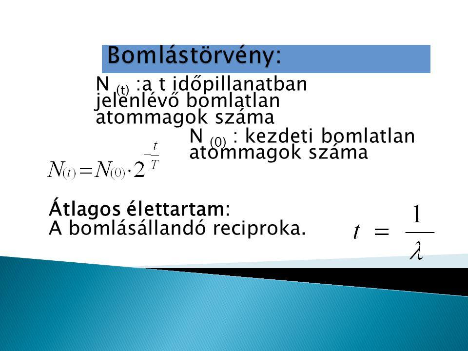 N (t) :a t időpillanatban jelenlévő bomlatlan atommagok száma N (0) : kezdeti bomlatlan atommagok száma Átlagos élettartam: A bomlásállandó reciproka.