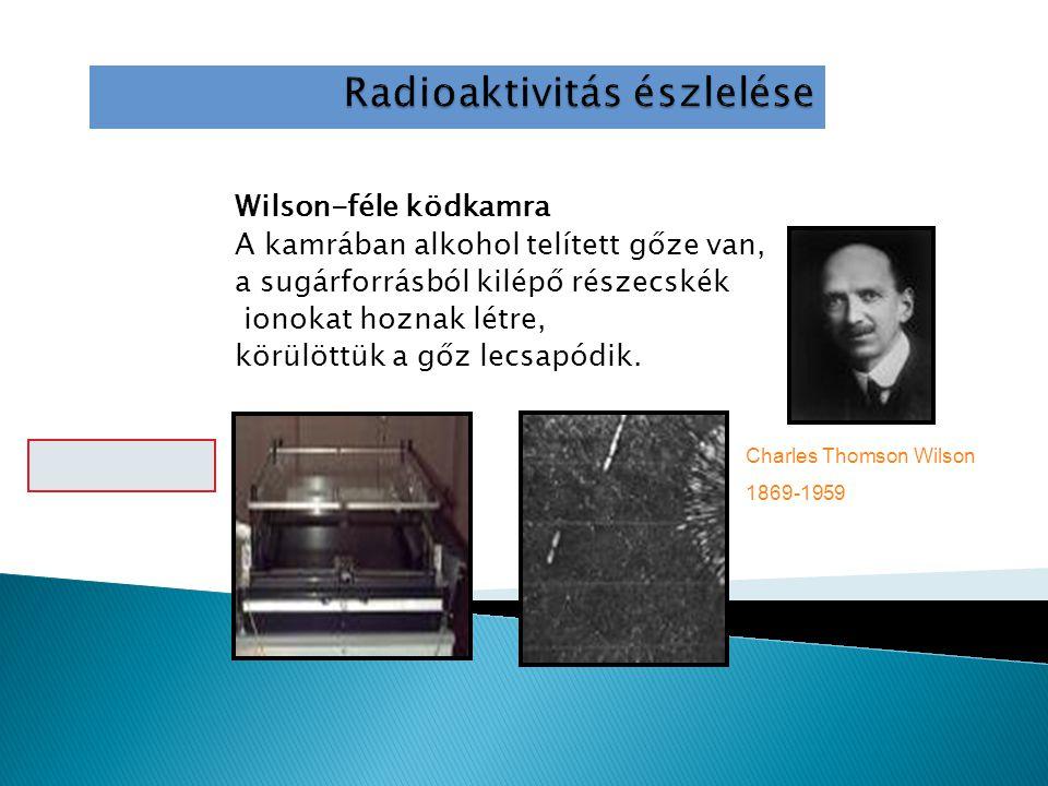 Wilson-féle ködkamra A kamrában alkohol telített gőze van, a sugárforrásból kilépő részecskék ionokat hoznak létre, körülöttük a gőz lecsapódik.