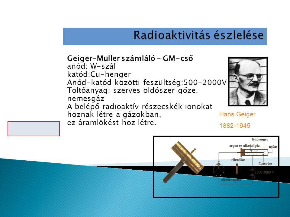 Geiger-Müller számláló – GM-cső anód: W-szál katód:Cu-henger Anód-katód közötti feszültség:500-2000V Töltőanyag: szerves oldószer gőze, nemesgáz A belépő radioaktív részecskék ionokat hoznak létre a gázokban, ez áramlökést hoz létre.