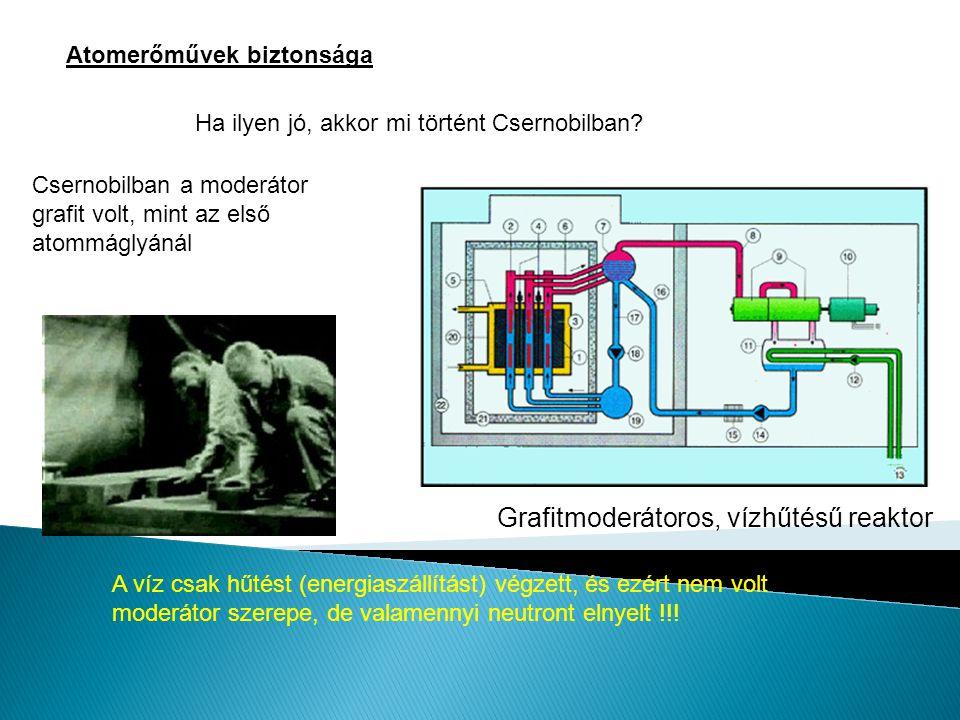Atomerőművek biztonsága Ha ilyen jó, akkor mi történt Csernobilban? Csernobilban a moderátor grafit volt, mint az első atommáglyánál A víz csak hűtést
