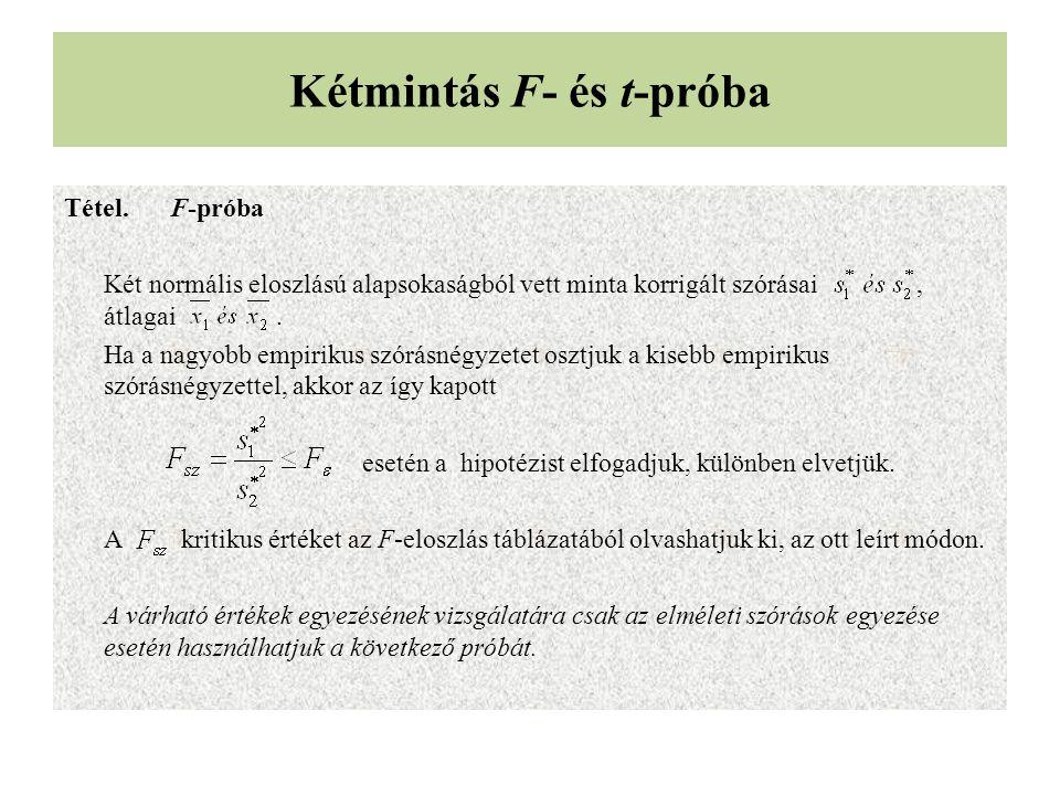 Kétmintás F- és t-próba Tétel.F-próba Két normális eloszlású alapsokaságból vett minta korrigált szórásai, átlagai.