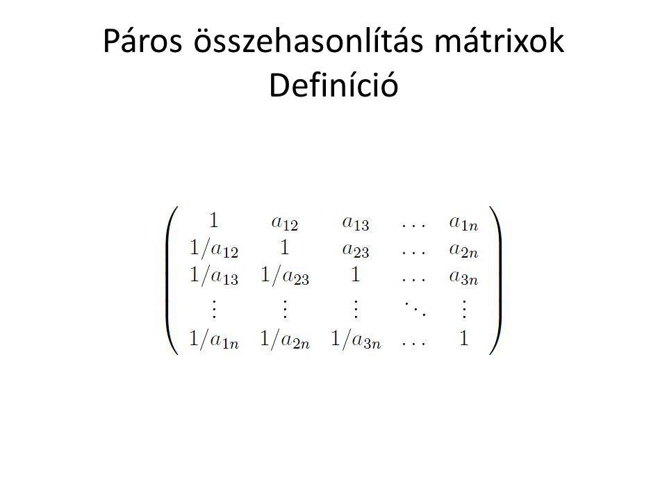 Páros összehasonlítás mátrixok Definíció