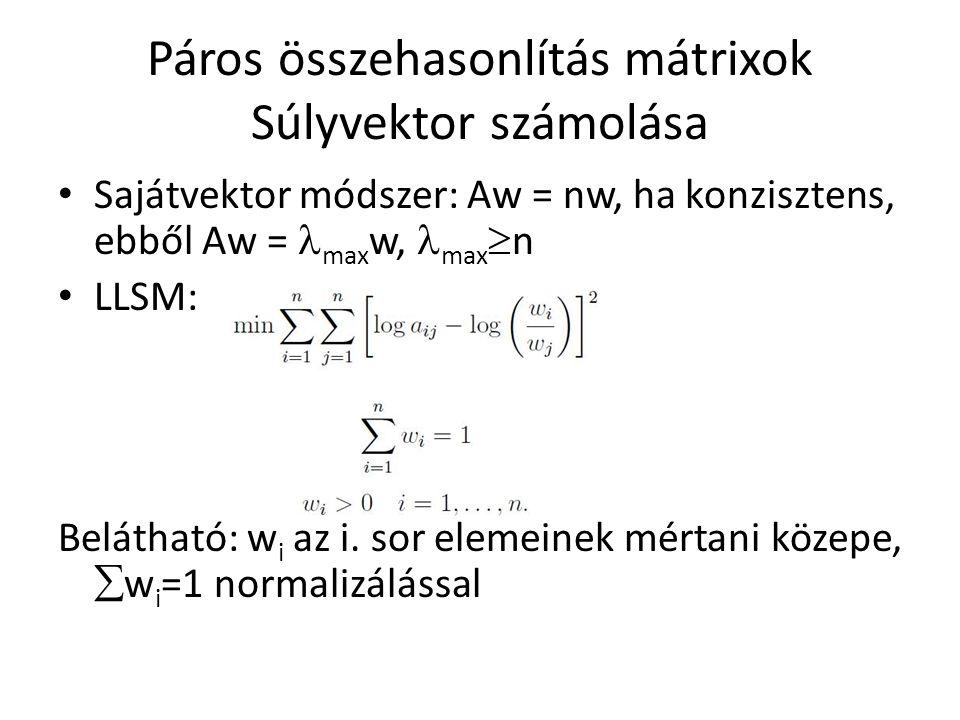 Páros összehasonlítás mátrixok Súlyvektor számolása Sajátvektor módszer: Aw = nw, ha konzisztens, ebből Aw = max w, max  n LLSM: Belátható: w i az i.