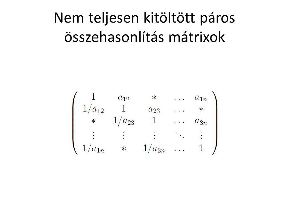 Nem teljesen kitöltött páros összehasonlítás mátrixok