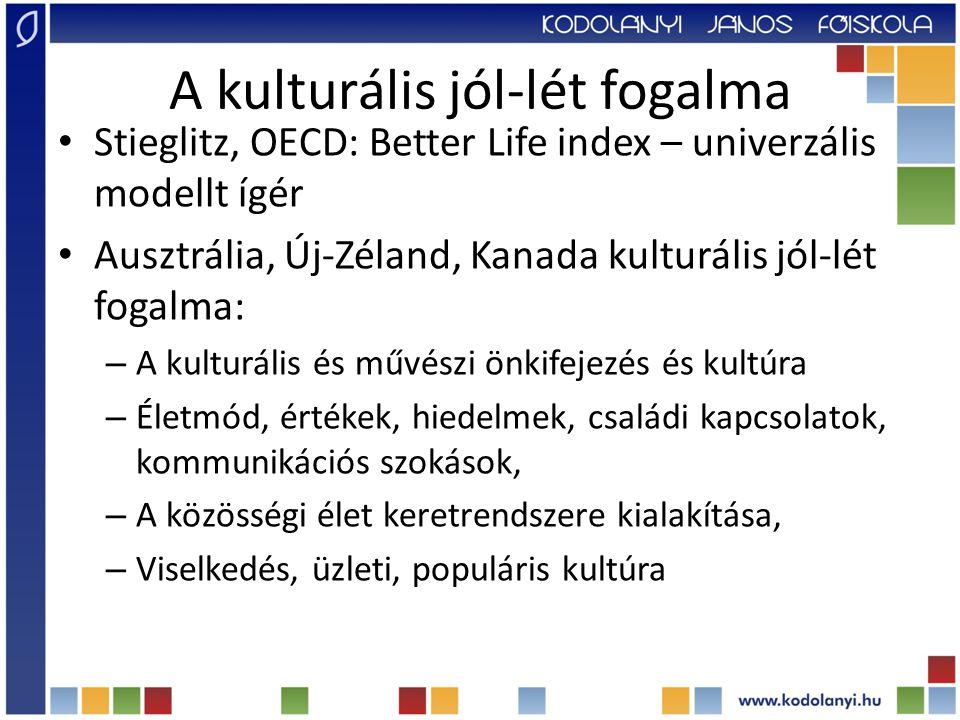 A kulturális jól-lét fogalma Stieglitz, OECD: Better Life index – univerzális modellt ígér Ausztrália, Új-Zéland, Kanada kulturális jól-lét fogalma: – A kulturális és művészi önkifejezés és kultúra – Életmód, értékek, hiedelmek, családi kapcsolatok, kommunikációs szokások, – A közösségi élet keretrendszere kialakítása, – Viselkedés, üzleti, populáris kultúra