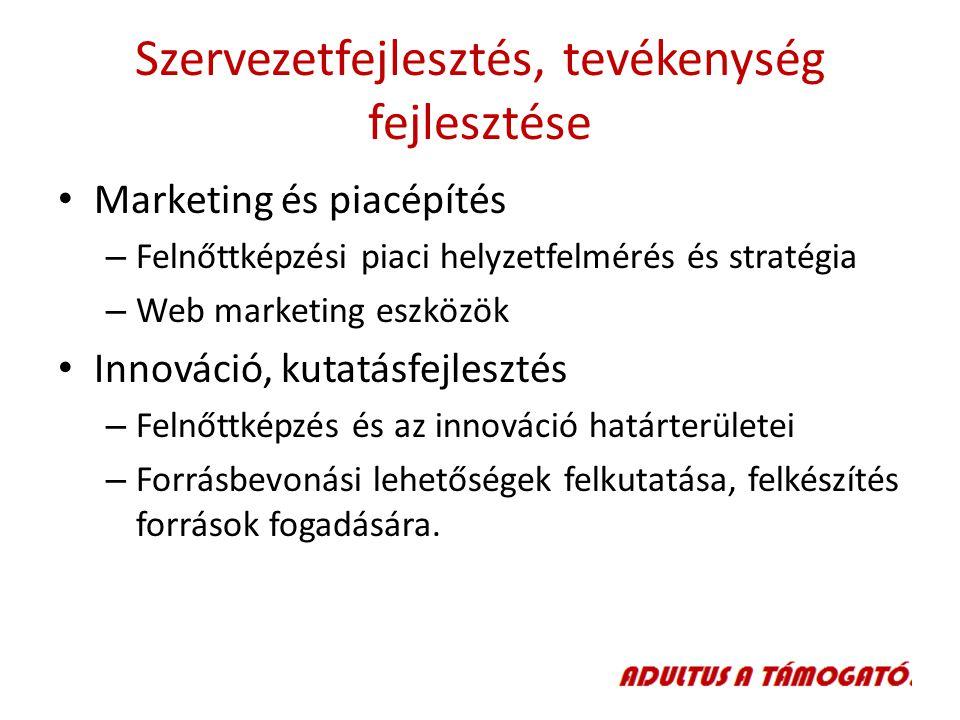 Szervezetfejlesztés, tevékenység fejlesztése Marketing és piacépítés – Felnőttképzési piaci helyzetfelmérés és stratégia – Web marketing eszközök Innováció, kutatásfejlesztés – Felnőttképzés és az innováció határterületei – Forrásbevonási lehetőségek felkutatása, felkészítés források fogadására.