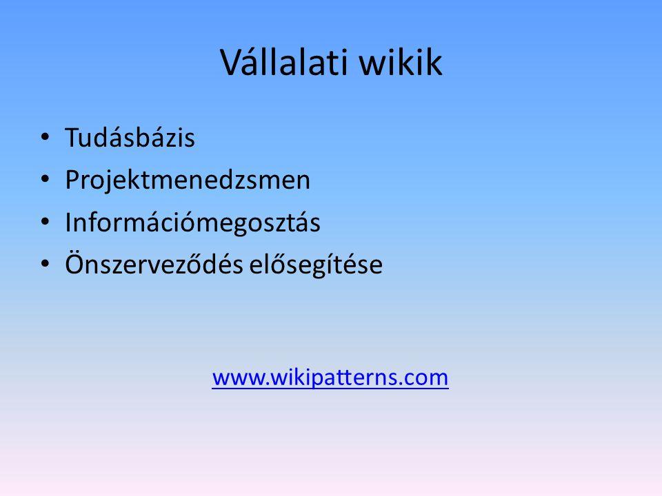 Vállalati wikik Tudásbázis Projektmenedzsmen Információmegosztás Önszerveződés elősegítése www.wikipatterns.com