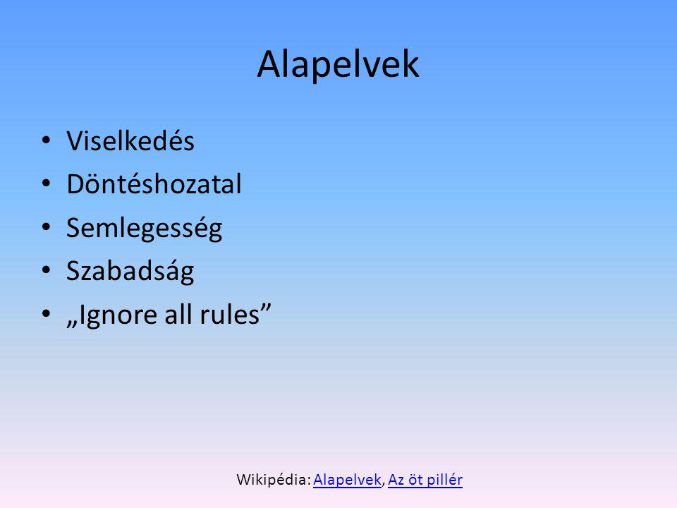 Alapelvek: viselkedés Nyíltság (bárki szerkeszthet, tekintélyelv- ellenesség) Jóhiszeműség Civilizált hangnem, racionális vita Nem újdonság – netikett, hackeretika
