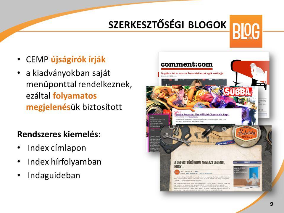 CEMP újságírók írják a kiadványokban saját menüponttal rendelkeznek, ezáltal folyamatos megjelenésük biztosított Rendszeres kiemelés: Index címlapon I
