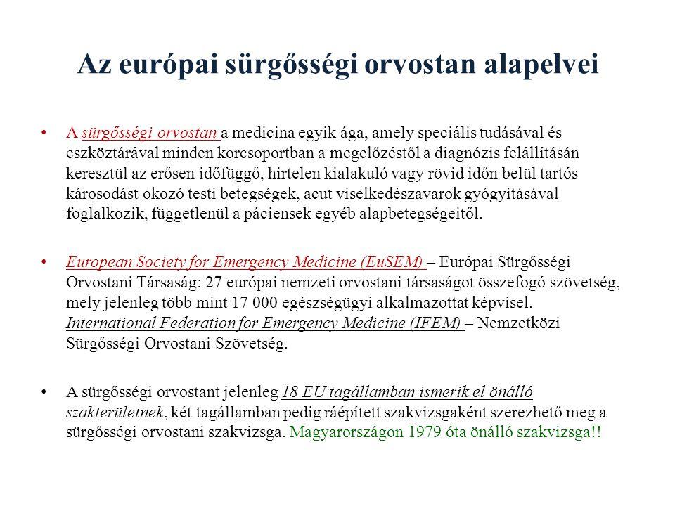 Az európai sürgősségi orvostan alapelvei A sürgősségi orvostan a medicina egyik ága, amely speciális tudásával és eszköztárával minden korcsoportban a