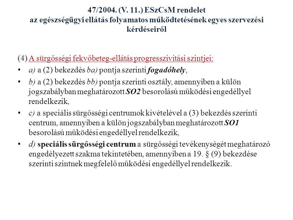 47/2004. (V. 11.) ESzCsM rendelet az egészségügyi ellátás folyamatos működtetésének egyes szervezési kérdéseiről (4) A sürgősségi fekvőbeteg-ellátás p