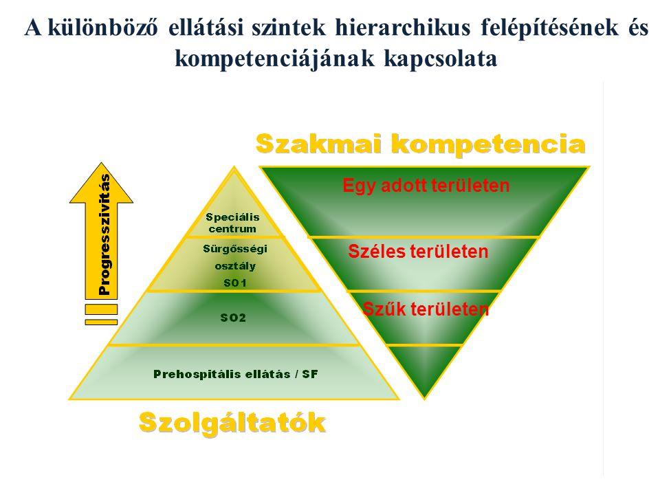 A különböző ellátási szintek hierarchikus felépítésének és kompetenciájának kapcsolata Széles területen Szűk területen Egy adott területen