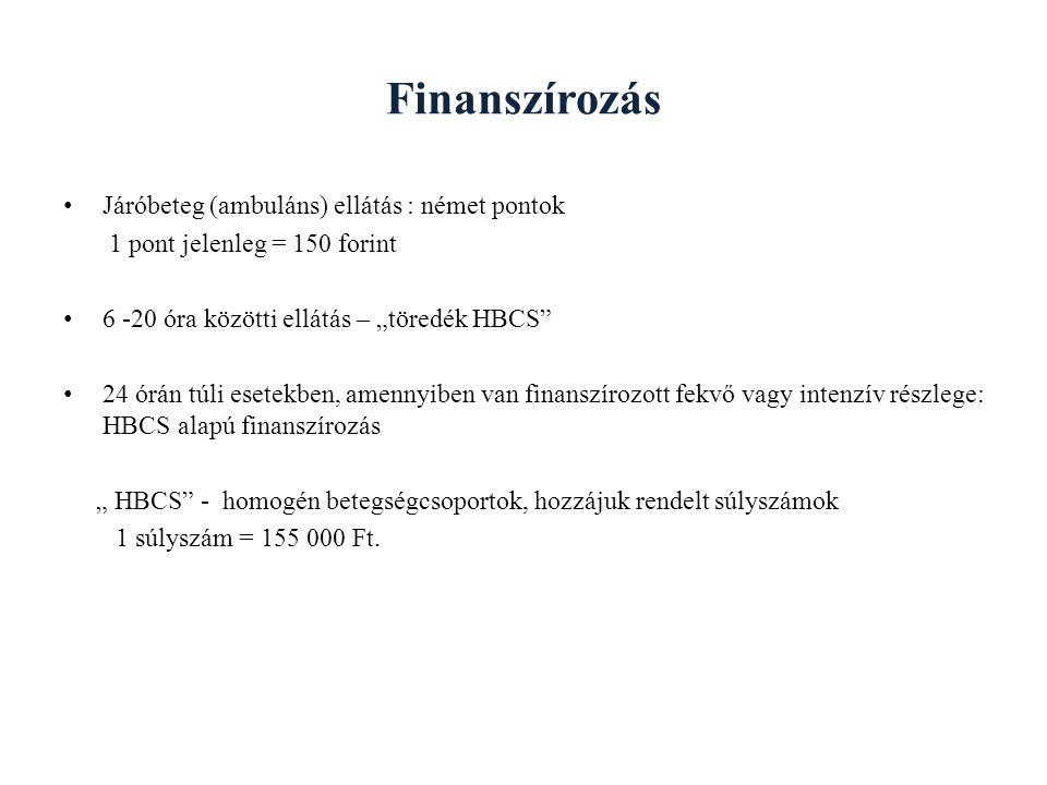 """Finanszírozás Járóbeteg (ambuláns) ellátás : német pontok 1 pont jelenleg = 150 forint 6 -20 óra közötti ellátás – """"töredék HBCS"""" 24 órán túli esetekb"""