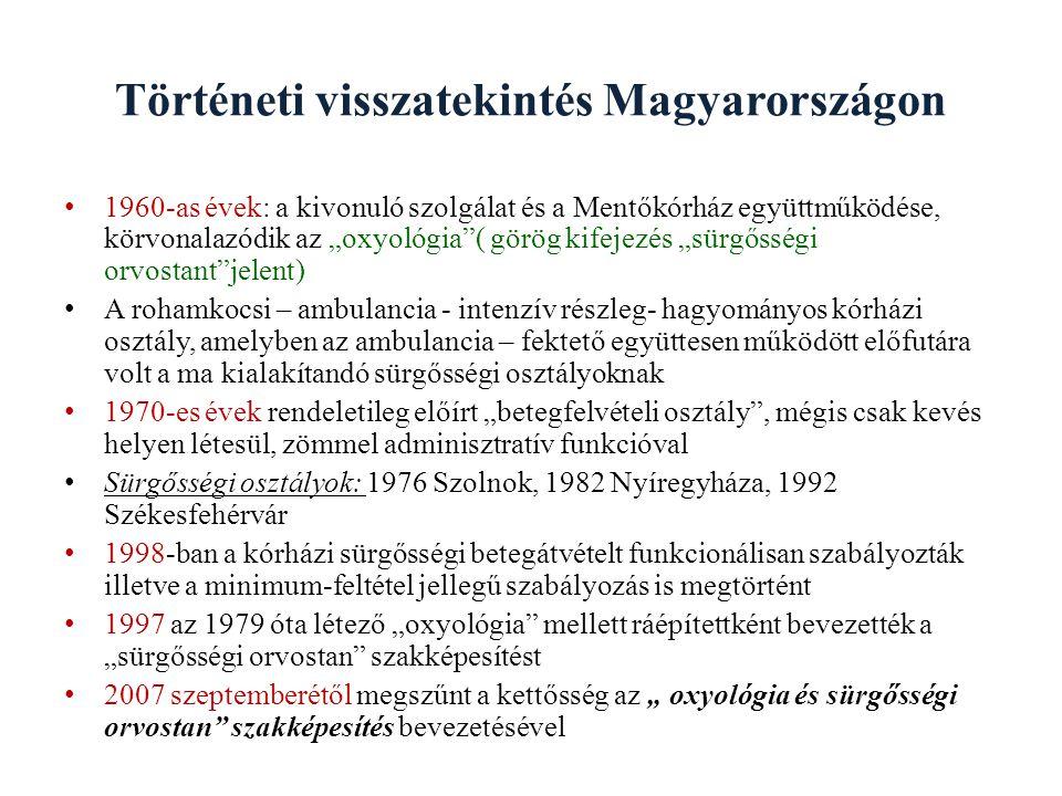 """Történeti visszatekintés Magyarországon 1960-as évek: a kivonuló szolgálat és a Mentőkórház együttműködése, körvonalazódik az """"oxyológia""""( görög kifej"""
