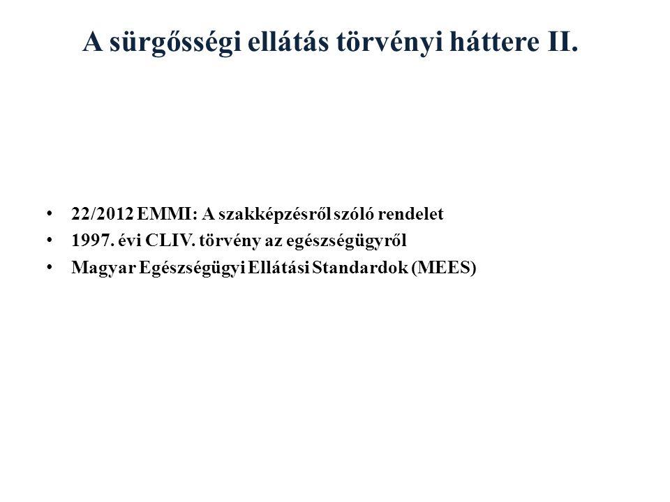 A sürgősségi ellátás törvényi háttere II. 22/2012 EMMI: A szakképzésről szóló rendelet 1997. évi CLIV. törvény az egészségügyről Magyar Egészségügyi E