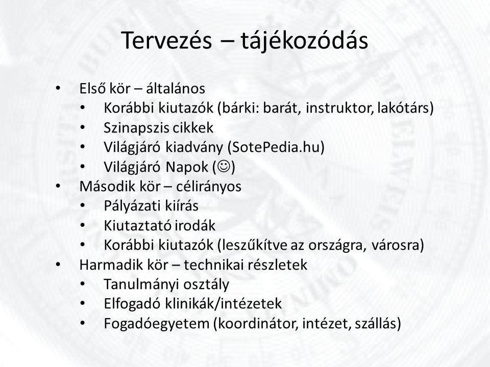 Tervezés – tájékozódás Első kör – általános Korábbi kiutazók (bárki: barát, instruktor, lakótárs) Szinapszis cikkek Világjáró kiadvány (SotePedia.hu)