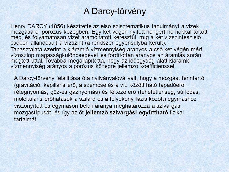 A Darcy-törvény Henry DARCY (1856) készítette az első szisztematikus tanulmányt a vizek mozgásáról porózus közegben. Egy két végén nyitott hengert hom