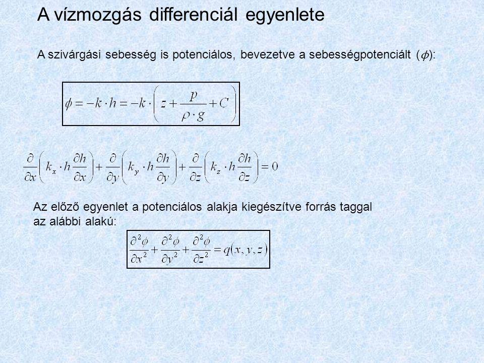 A vízmozgás differenciál egyenlete A szivárgási sebesség is potenciálos, bevezetve a sebességpotenciált ( ϕ ): Az előző egyenlet a potenciálos alakja