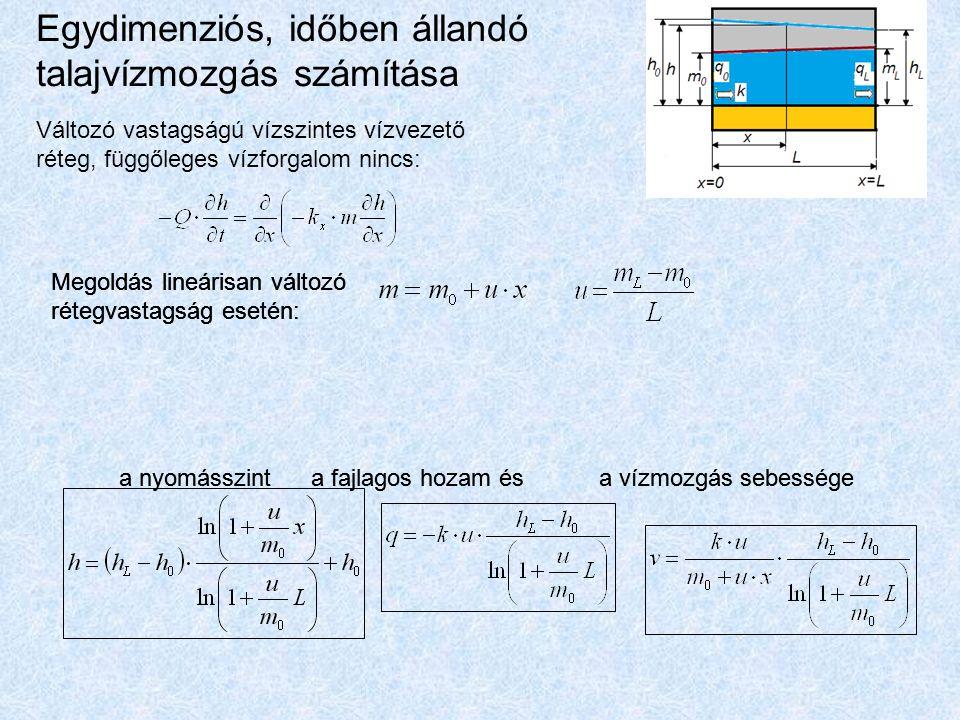 Egydimenziós, időben állandó talajvízmozgás számítása Változó vastagságú vízszintes vízvezető réteg, függőleges vízforgalom nincs: Megoldás lineárisan