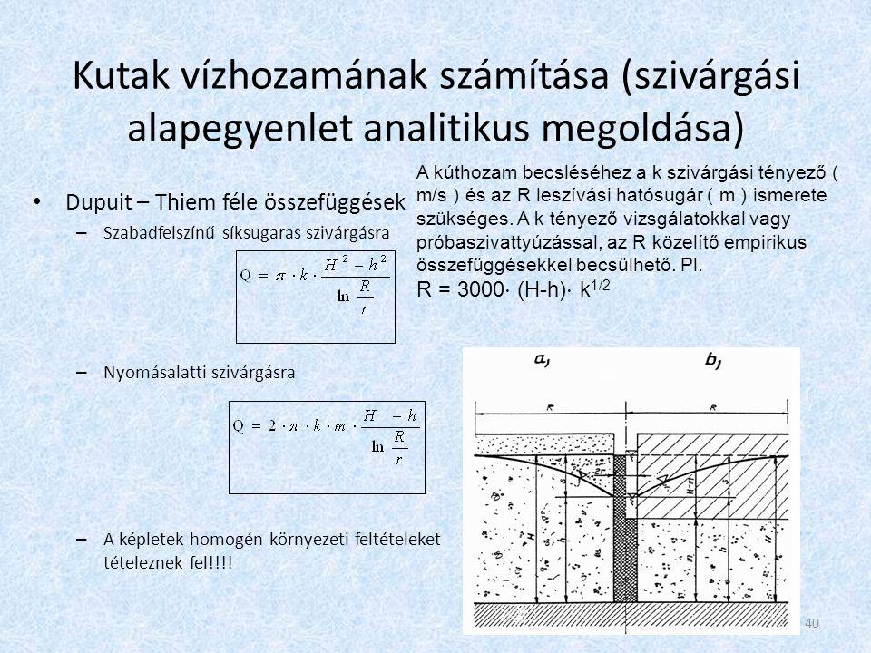 Kutak vízhozamának számítása (szivárgási alapegyenlet analitikus megoldása) Dupuit – Thiem féle összefüggések – Szabadfelszínű síksugaras szivárgásra