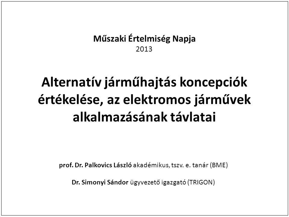 Műszaki Értelmiség Napja 2013 Alternatív járműhajtás koncepciók értékelése, az elektromos járművek alkalmazásának távlatai prof. Dr. Palkovics László