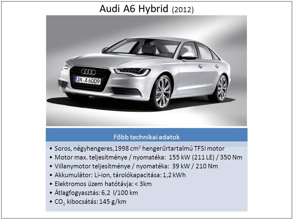 Audi A6 Hybrid (2012) Főbb technikai adatok Soros, négyhengeres,1998 cm 3 hengerűrtartalmú TFSI motor Motor max. teljesítménye / nyomatéka: 155 kW (21