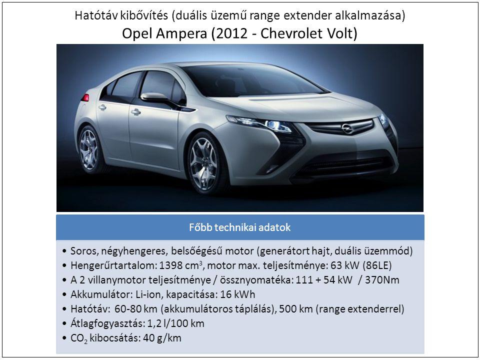 Hatótáv kibővítés (duális üzemű range extender alkalmazása) Opel Ampera (2012 - Chevrolet Volt) Főbb technikai adatok Soros, négyhengeres, belsőégésű motor (generátort hajt, duális üzemmód) Hengerűrtartalom: 1398 cm 3, motor max.