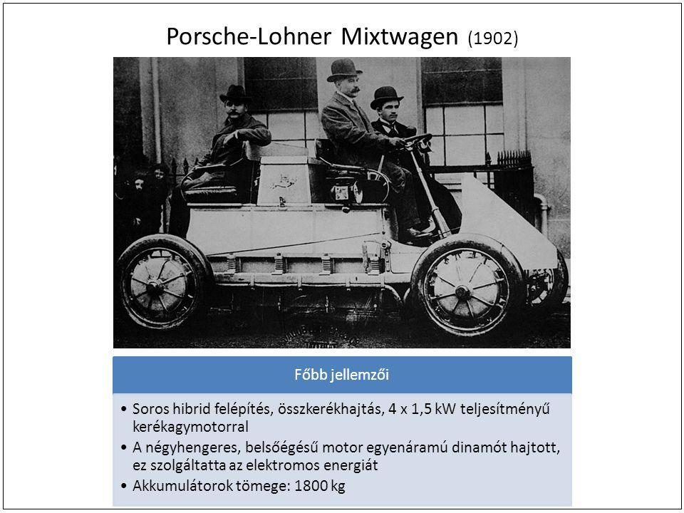 Porsche-Lohner Mixtwagen (1902) Főbb jellemzői Soros hibrid felépítés, összkerékhajtás, 4 x 1,5 kW teljesítményű kerékagymotorral A négyhengeres, belsőégésű motor egyenáramú dinamót hajtott, ez szolgáltatta az elektromos energiát Akkumulátorok tömege: 1800 kg