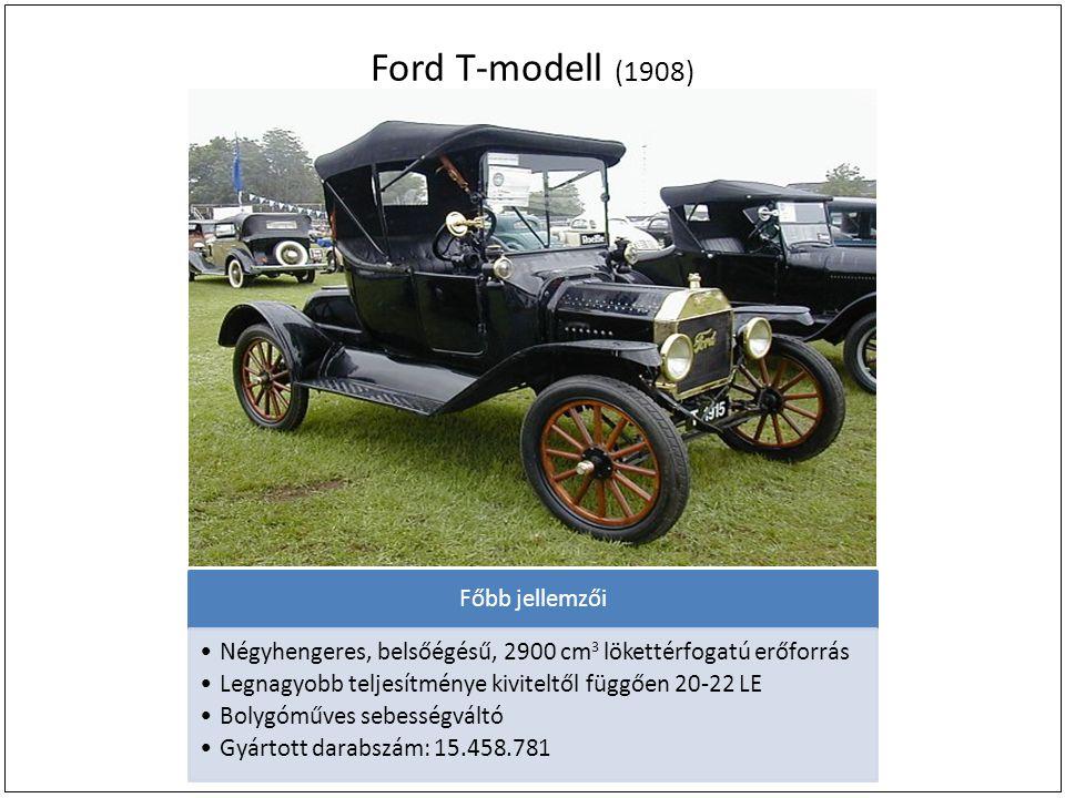 Ford T-modell (1908) Főbb jellemzői Négyhengeres, belsőégésű, 2900 cm 3 lökettérfogatú erőforrás Legnagyobb teljesítménye kiviteltől függően 20-22 LE Bolygóműves sebességváltó Gyártott darabszám: 15.458.781