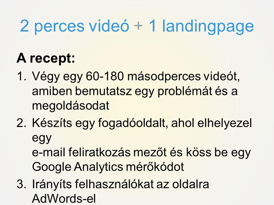 A recept: 1.Végy egy 60-180 másodperces videót, amiben bemutatsz egy problémát és a megoldásodat 2.Készíts egy fogadóoldalt, ahol elhelyezel egy e-mail feliratkozás mezőt és köss be egy Google Analytics mérőkódot 3.Irányíts felhasználókat az oldalra AdWords-el 4.Értékeld az eredményeket