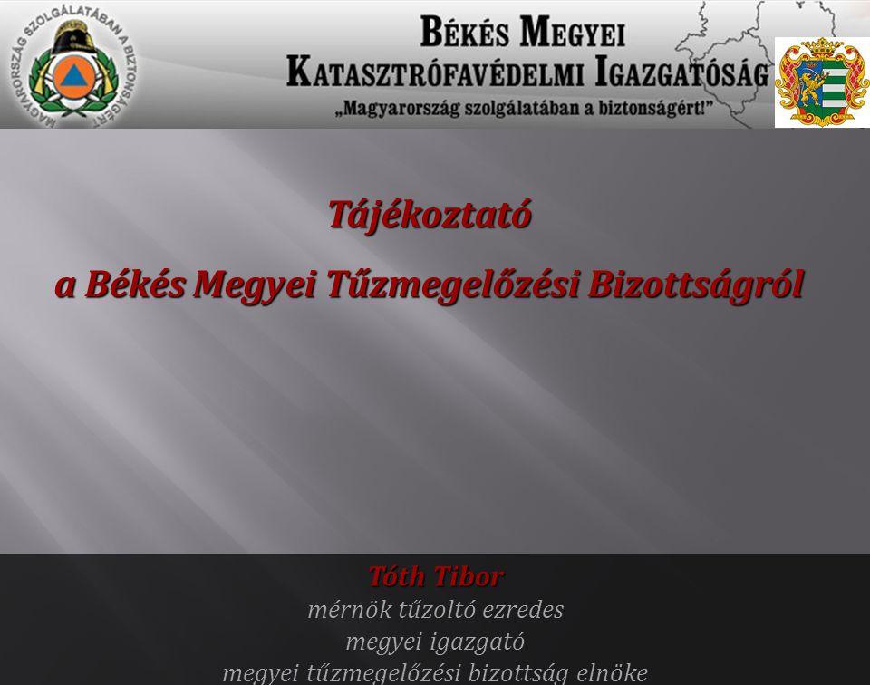 Tájékoztató a Békés Megyei Tűzmegelőzési Bizottságról Tóth Tibor mérnök tűzoltó ezredes megyei igazgató megyei tűzmegelőzési bizottság elnöke