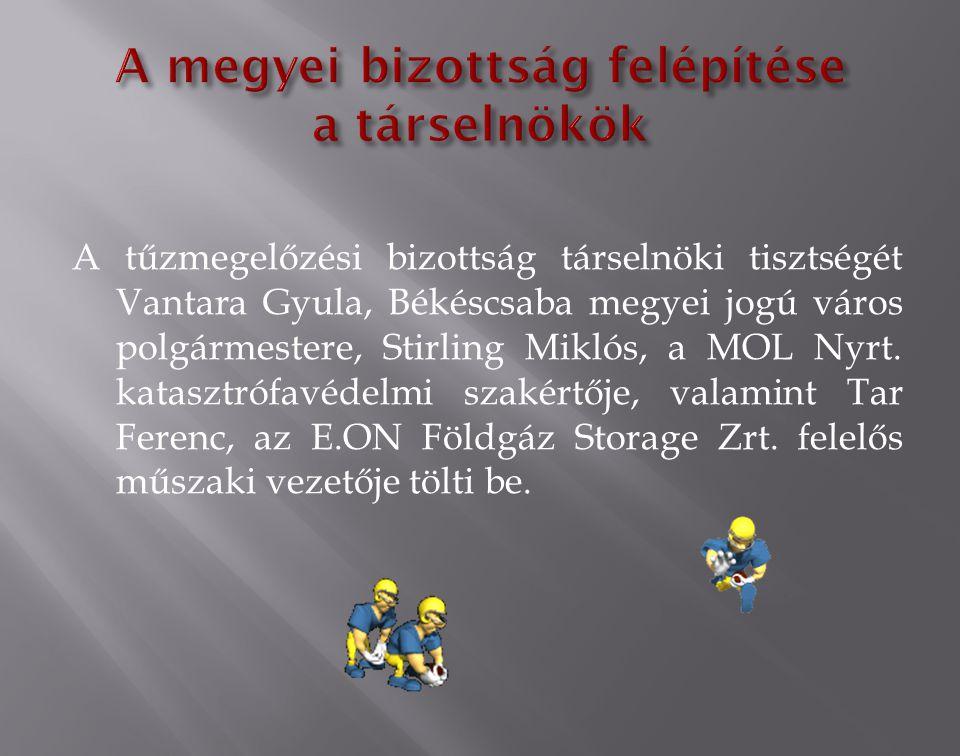 A tűzmegelőzési bizottság társelnöki tisztségét Vantara Gyula, Békéscsaba megyei jogú város polgármestere, Stirling Miklós, a MOL Nyrt.