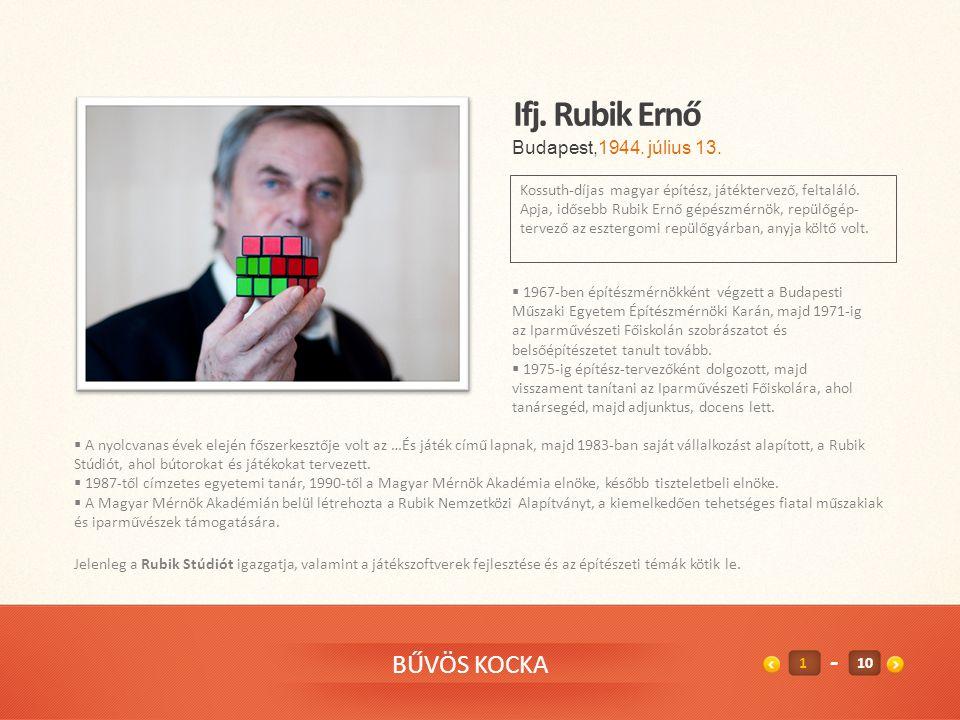 BŰVÖS KOCKA Ifj.Rubik Ernő Kossuth-díjas magyar építész, játéktervező, feltaláló.