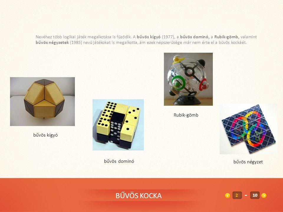 BŰVÖS KOCKA Ifj. Rubik Ernő Kossuth-díjas magyar építész, játéktervező, feltaláló. Apja, idősebb Rubik Ernő gépészmérnök, repülőgép- tervező az eszter