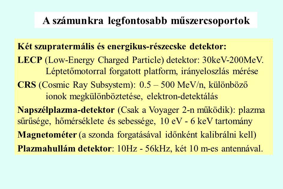 A számunkra legfontosabb műszercsoportok Két szupratermális és energikus-részecske detektor: LECP (Low-Energy Charged Particle) detektor: 30keV-200MeV