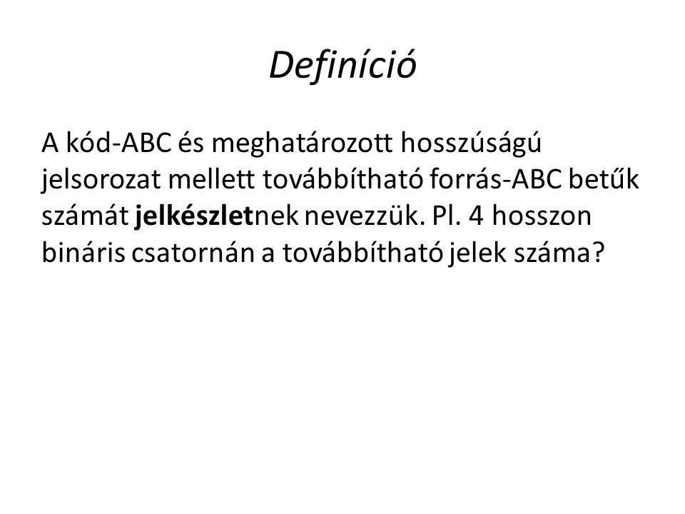 Definíció A kód-ABC és meghatározott hosszúságú jelsorozat mellett továbbítható forrás-ABC betűk számát jelkészletnek nevezzük. Pl. 4 hosszon bináris