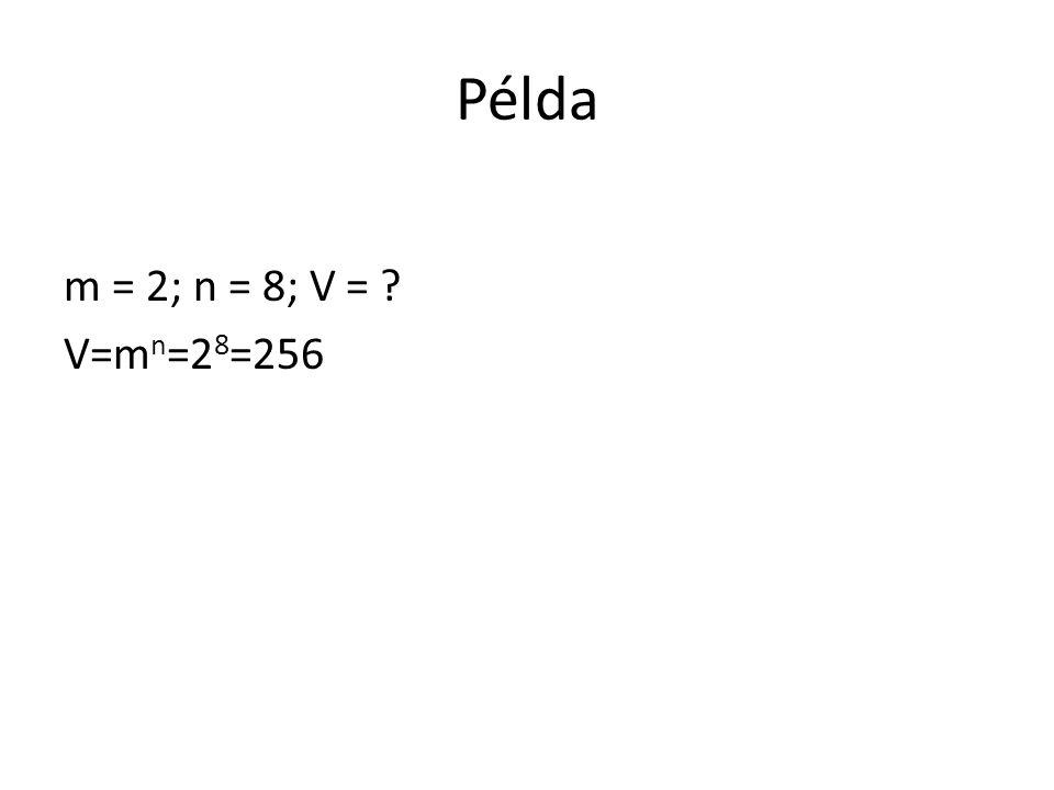 Példa m = 2; n = 8; V = ? V=m n =2 8 =256