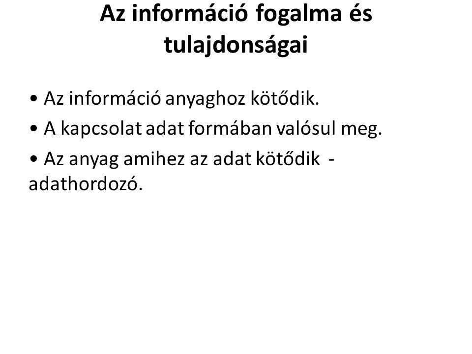 Az információ fogalma és tulajdonságai Az információ anyaghoz kötődik. A kapcsolat adat formában valósul meg. Az anyag amihez az adat kötődik - adatho