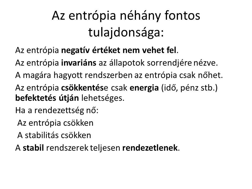Az entrópia néhány fontos tulajdonsága: Az entrópia negatív értéket nem vehet fel. Az entrópia invariáns az állapotok sorrendjére nézve. A magára hagy