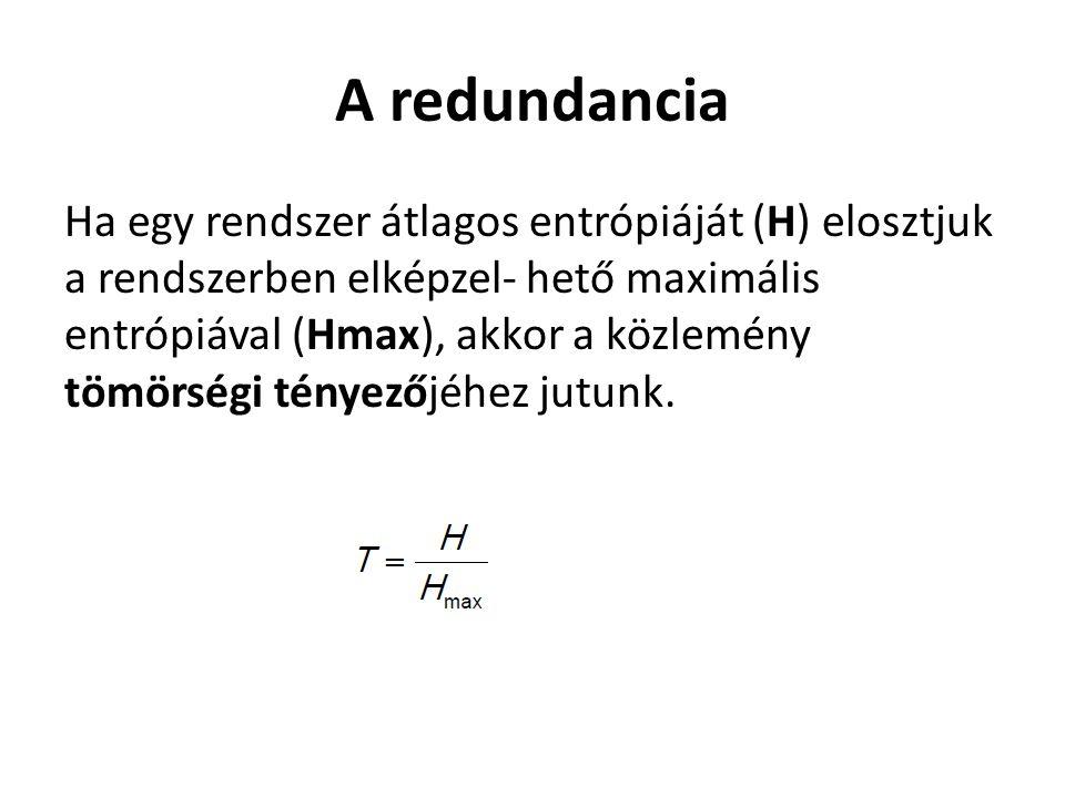A redundancia Ha egy rendszer átlagos entrópiáját (H) elosztjuk a rendszerben elképzel- hető maximális entrópiával (Hmax), akkor a közlemény tömörségi