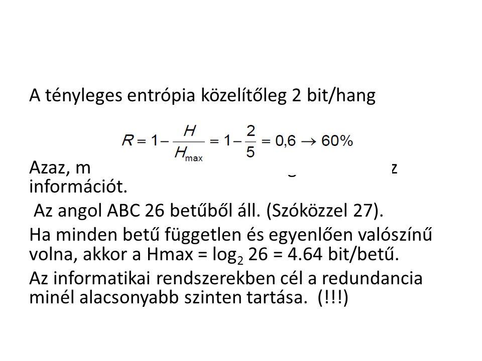 A tényleges entrópia közelítőleg 2 bit/hang Azaz, minden 10 kimondott hangból 4 hordoz információt. Az angol ABC 26 betűből áll. (Szóközzel 27). Ha mi