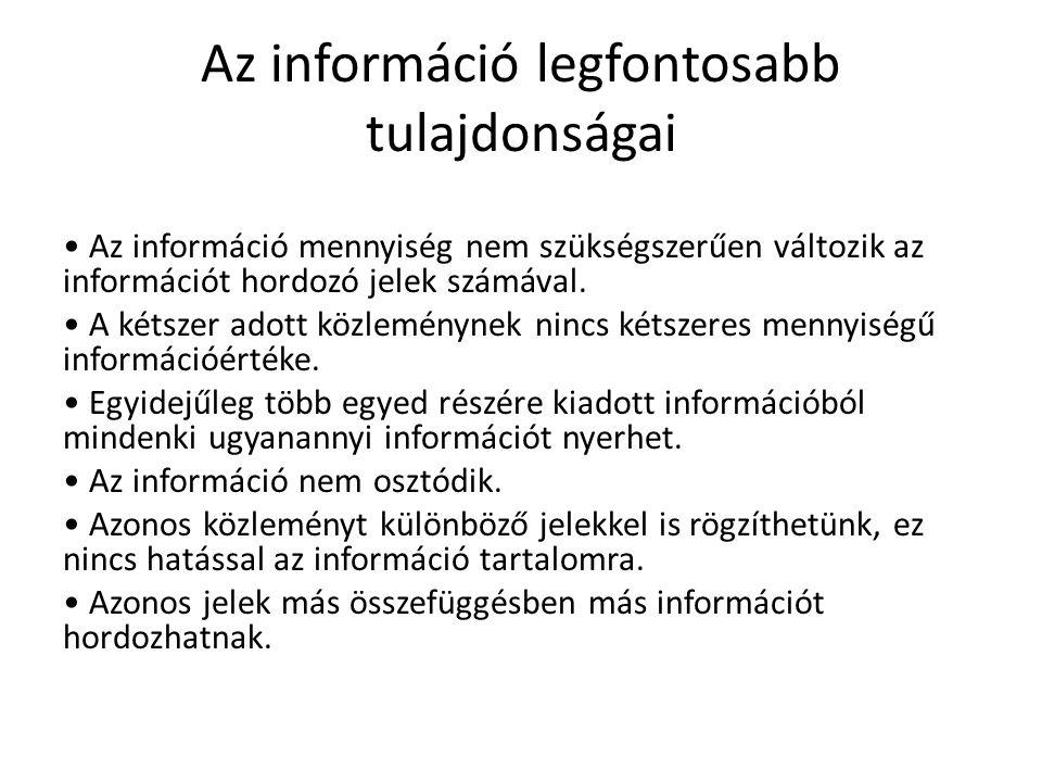 Az információ legfontosabb tulajdonságai Az információ mennyiség nem szükségszerűen változik az információt hordozó jelek számával. A kétszer adott kö