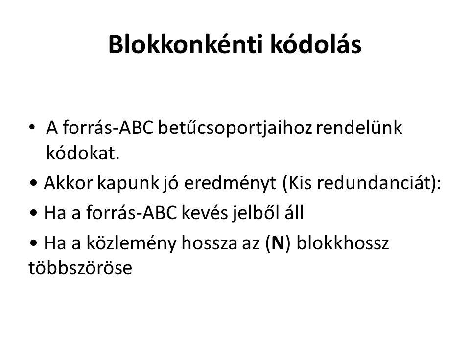 Blokkonkénti kódolás A forrás-ABC betűcsoportjaihoz rendelünk kódokat. Akkor kapunk jó eredményt (Kis redundanciát): Ha a forrás-ABC kevés jelből áll