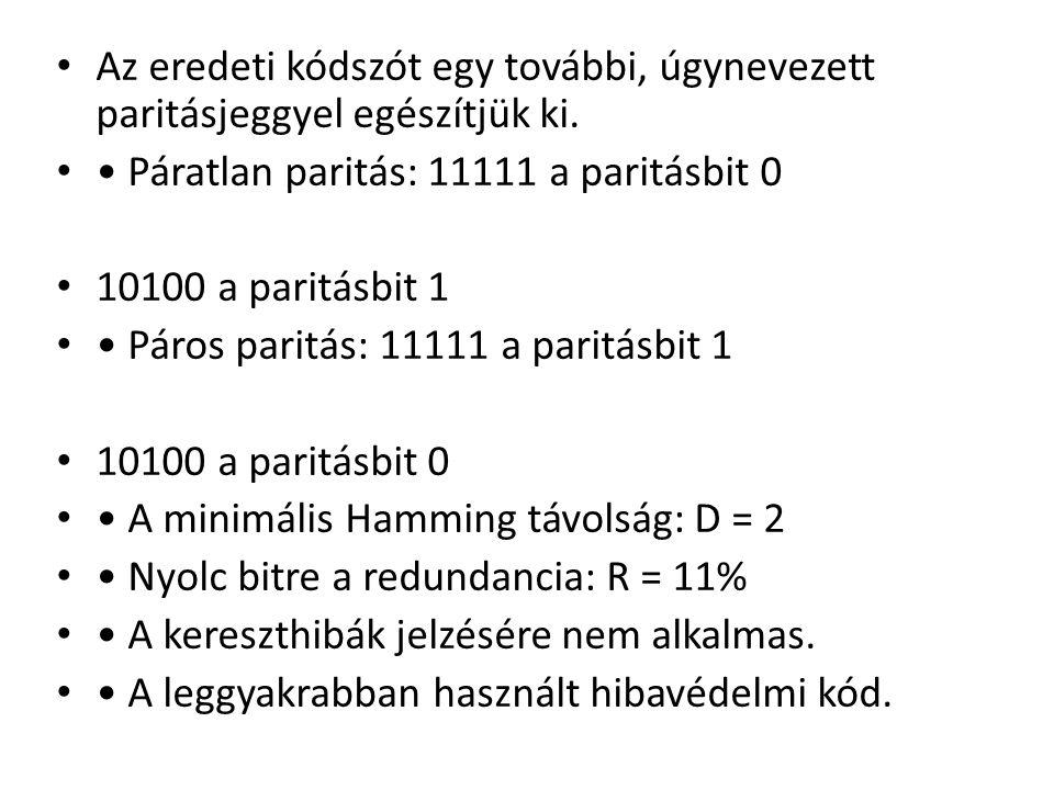 Az eredeti kódszót egy további, úgynevezett paritásjeggyel egészítjük ki. Páratlan paritás: 11111 a paritásbit 0 10100 a paritásbit 1 Páros paritás: 1