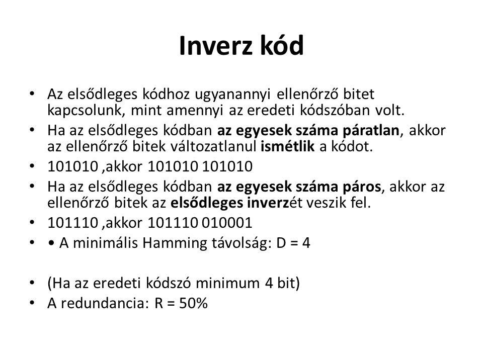 Inverz kód Az elsődleges kódhoz ugyanannyi ellenőrző bitet kapcsolunk, mint amennyi az eredeti kódszóban volt. Ha az elsődleges kódban az egyesek szám