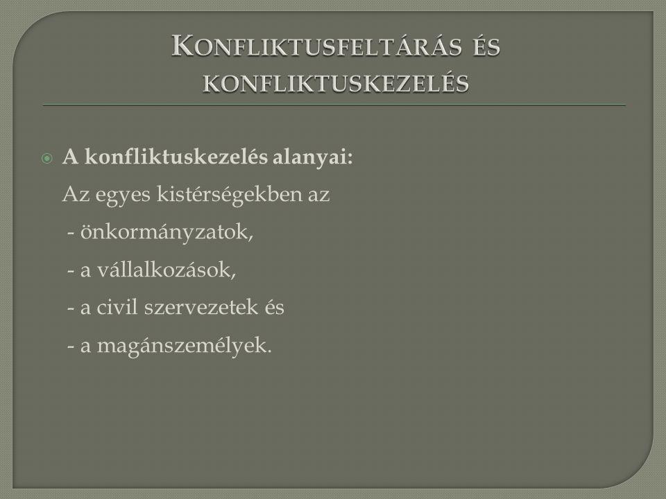  A konfliktuskezelés alanyai: Az egyes kistérségekben az - önkormányzatok, - a vállalkozások, - a civil szervezetek és - a magánszemélyek.