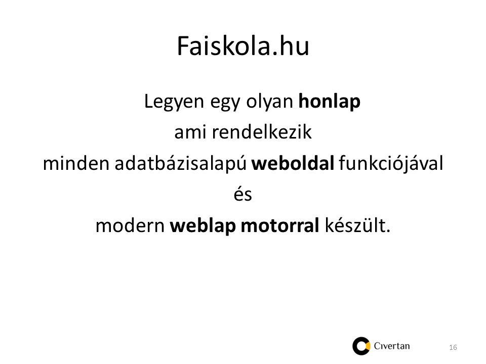 Faiskola.hu Legyen egy olyan honlap ami rendelkezik minden adatbázisalapú weboldal funkciójával és modern weblap motorral készült.